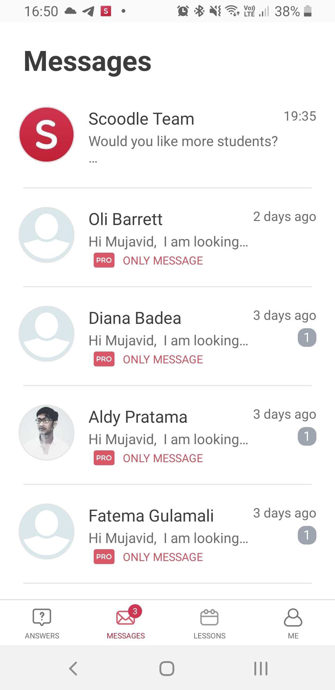 Messages UI overview